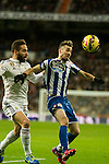 Real Madrid´s Daniel Carvajal and Deportivo de la Coruna's Luisinho during 2014-15 La Liga match between Real Madrid and Deportivo de la Coruna at Santiago Bernabeu stadium in Madrid, Spain. February 14, 2015. (ALTERPHOTOS/Luis Fernandez)
