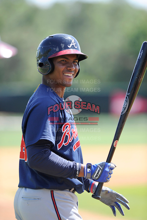 Infielder Carlos Franco (46) of the Atlanta Braves farm system in a Minor League Spring Training workout on Monday, March 16, 2015, at the ESPN Wide World of Sports Complex in Lake Buena Vista, Florida. (Tom Priddy/Four Seam Images)