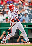 1 August 2018: Washington Nationals catcher Spencer Kieboom doubles in the second inning against the New York Mets at Nationals Park in Washington, DC. The Nationals defeated the Mets 5-3 to sweep the 2-game weekday series. Mandatory Credit: Ed Wolfstein Photo *** RAW (NEF) Image File Available ***