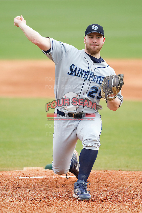 Starting pitcher Dominick Macaluso #25 of the Saint Peter's Peacocks in action against the Charlotte 49ers at Robert and Mariam Hayes Stadium on February 18, 2012 in Charlotte, North Carolina.  Brian Westerholt / Four Seam Images