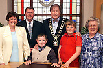 Incoming Mayor Cllr. Frank Godfrey with his brother Malachy, Malachy's wife Ann, niece Marisa Godfrey, nephew Jason Godfrey and mother Mary Kate after his election in the corporation chambers on Monday night..Picture Paul Mohan Newsfile