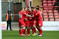 O's  Jordan Maguire-Drew (2nd left) ceebrtes with team mates during Leyton Orient vs Cambridge United, Sky Bet EFL League 2 Football at The Breyer Group Stadium on 7th March 2020