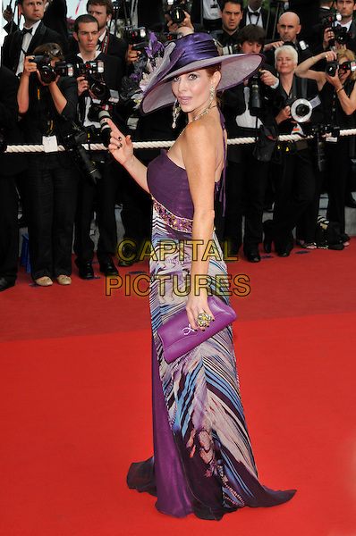 PHOEBE PRICE .'Vengance' screening.62nd International Cannes Film Festival.Cannes, France. 17th May 2009.full length purple hat long maxi print dress clutch bag hand ring halterneck .CAP/PL.©Phil Loftus/Capital Pictures