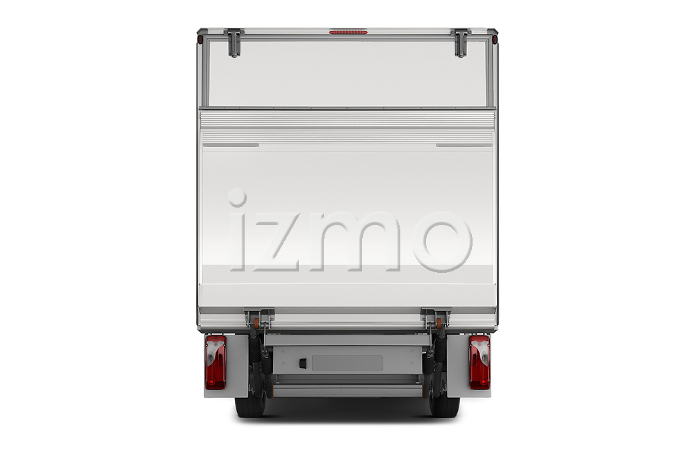 Straight rear view of 2019 Mercedes Benz Sprinter-Box-Van - 2 Door Chassis Cab Rear View  stock images