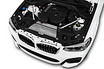 Car stock 2019 BMW X3 M Sport 5 Door SUV engine high angle detail view