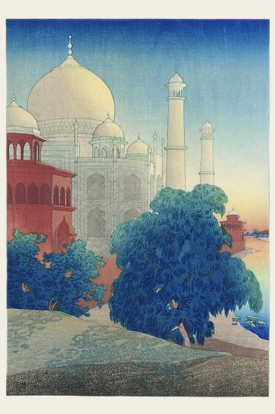 Taj Mahal Sunset - Woodblock Print process. Charles W. Bartlett artist. 1920