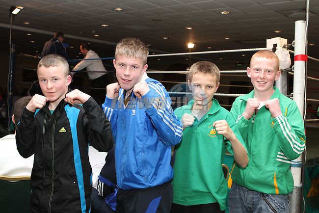 Michael Nevin, Vasyl Chekanskyy, Josh Hynes and Jamie Dyas at the Holy Family Boxing Club Annual Show in The Boyne Valley Hotel...(Photo Jenny Matthews/www.golffile.ie)