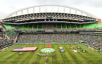 Seattle, Wash. - May 23, 2015: The Seattle Sounders FC and Sporting KC played to a 0-0 tie in Major League Soccer action on the Xbox Pitch at CenturyLink Field.