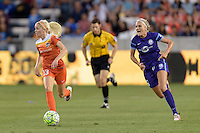 Denise O'Sullivan (13) of the Houston Dash races up the field with the ball with Kaylan Kyle (6) of the Orlando Pride chasing her on Friday, May 20, 2016 at BBVA Compass Stadium in Houston Texas. The Orlando Pride defeated the Houston Dash 1-0.