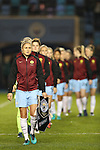 Steph Houghton of Manchester City Women leads out the team before the Women's Champions League last 16 tie, first leg between Manchester City Women and Brondby at the Academy Stadium. <br /> <br /> Photo credit should read: Lynne Cameron/Sportimage