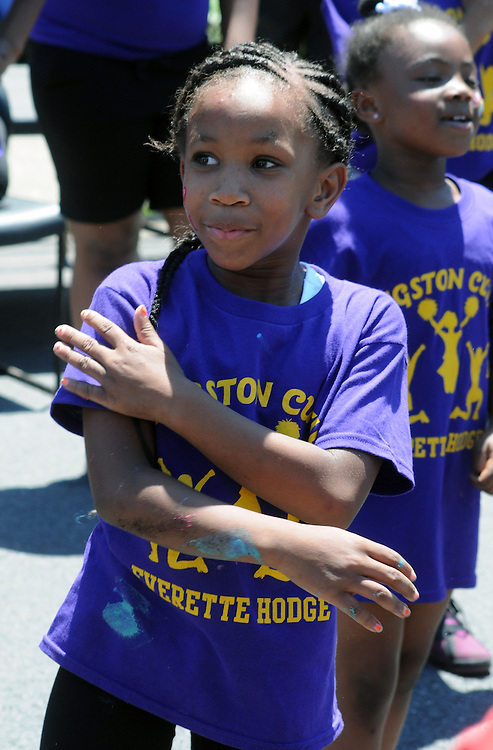 Close up of a member of the Kingston Cuties of the Everette Hodge Community Center performing at the 11th Annual Mid-town Make a Difference Day Celebration on Franklin Street, in Kingston, NY on Saturday, June  18, 2016. Photo by Jim Peppler. Copyright Jim Peppler 2016.