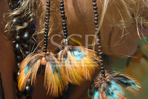 Pará State, Brazil. Xingu River. Sue's new earrings!