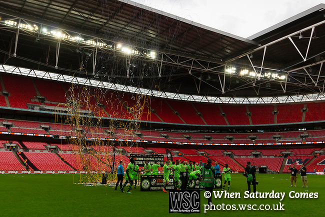 Tranmere Rovers 1 Forest Green Rovers 3, 14/05/2017. Wembley Stadium, Conference play off Final. The streamers are released after the Vanarama Conference play off Final  between Tranmere Rovers v Forest Green Rovers at the Wembley. Photo by Paul Thompson.