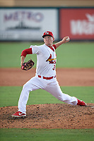 Palm Beach Cardinals relief pitcher Zack Thompson (31) during a Florida State League game against the Clearwater Threshers on August 11, 2019 at Roger Dean Chevrolet Stadium in Jupiter, Florida.  Palm Beach defeated Clearwater 4-1.  (Mike Janes/Four Seam Images)