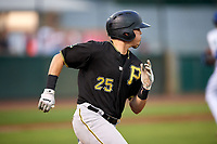 Bristol Pirates right fielder Conner Uselton (25) runs to first base during the second game of a doubleheader against the Bluefield Blue Jays on July 25, 2018 at Bowen Field in Bluefield, Virginia.  Bristol defeated Bluefield 5-2.  (Mike Janes/Four Seam Images)