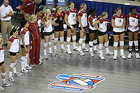 14 December 2006: Stanford Cardinal Erin Waller, Heather Hernandez, Cynthia Barboza, Alex Fisher, Janet Okogbaa, Joanna Evans, Jessica Fishburn, Michelle Mellard, Kristin Richards, Nji Nnamani, Bryn Kehoe, Lizzie Suiter, and Foluke Akinradewo during Stanford's 30-12, 30-25, 30-15 win against the Washington Huskies in the 2006 NCAA Division I Women's Volleyball Final Four semifinal match at the Qwest Center in Omaha, NE.