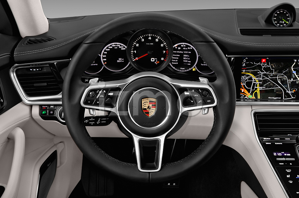 Car pictures of steering wheel view of a 2018 Porsche Panamera 4S 5 Door Hatchback