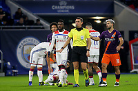 Referee Gianluca Rocchi beckons Manchester City's Fernandinho after a challenge during Lyon vs Manchester City, UEFA Champions League Football at Groupama Stadium on 27th November 2018