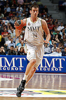 01.04.2012 SPAIN - ACB match played between Real Madrid vs Unicaja  at Palacio de los deportes stadium. The picture show Nivica Velickovic (Serbian power forward of Real Madrid)