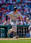 14 April 2018: Colorado Rockies third baseman Ryan McMahon in action against the Washington Nationals at Nationals Park in Washington, DC. The Nationals rallied to defeat the Rockies 6-2 in the 3rd game of their 4-game series. Mandatory Credit: Ed Wolfstein Photo *** RAW (NEF) Image File Available ***