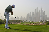 Lucas Bjerregaard (DEN) on the 8th tee during Round 1 of the Omega Dubai Desert Classic, Emirates Golf Club, Dubai,  United Arab Emirates. 24/01/2019<br /> Picture: Golffile | Thos Caffrey<br /> <br /> <br /> All photo usage must carry mandatory copyright credit (&copy; Golffile | Thos Caffrey)