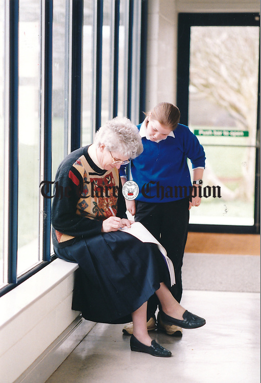 Sarah Brennan with school principal Sr Marie Ryan at Scoil Realt na Mara, Kilkee - April 28, 2000. Photograph by Eamon Ward