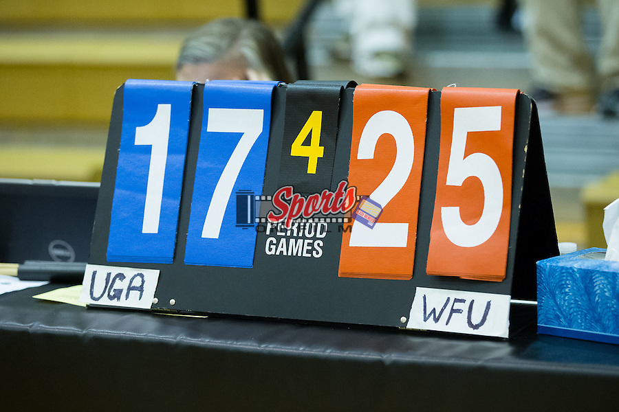 Due to a technical malfunction with the electronic scoreboards, scoring was kept manually during the NCAA volleyball match between the Georgia Bulldogs and the Wake Forest Demon Deacons in Reynolds Gymnasium on September 18, 2015 in Winston-Salem, North Carolina.  The Demon Deacons defeated the Bulldogs 3-1.   (Brian Westerholt/Sports On Film)