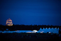 Night over the 22nd World Scout Jamboree. The huge tower is gluing in the dark.