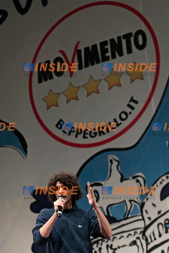 Mattia Calise.Roma 22/02/2013 Piazza San Giovanni. Tappa conclusiva dello Tsunami Tour e chiusura della campagna elettorale del Movimento 5 stelle..Elections 2013, Closing of the campaign of ' Movment 5 stars' .Photo Samantha Zucchi Insidefoto