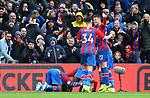 Crystal Palace's Jordan Ayew (L) celebrates after scoring to make it 1-1 during the Premier League match at Selhurst Park, London. Picture date: 11th January 2020. Picture credit should read: Paul Terry/Sportimage