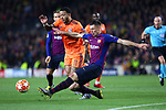 UEFA Champions League 2018/2019.<br /> Round of 16 2nd leg.<br /> FC Barcelona vs Olympique Lyonnais: 5-1.<br /> Memphis Depay vs Clement Lenglet.
