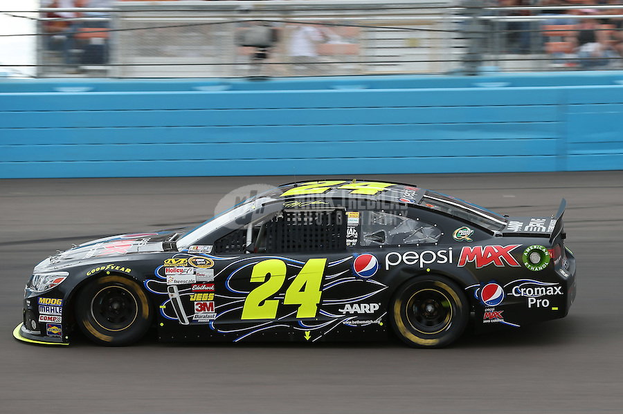 Mar. 3, 2013; Avondale, AZ, USA; NASCAR Sprint Cup Series driver Jeff Gordon during the Subway Fresh Fit 500 at Phoenix International Raceway. Mandatory Credit: Mark J. Rebilas-