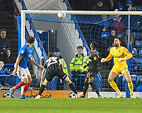 Brett Pitman of Portsmouth left goes close to scoring the second goal after the half time restart during Portsmouth vs Northampton Town, Leasing.com Trophy Football at Fratton Park on 3rd December 2019