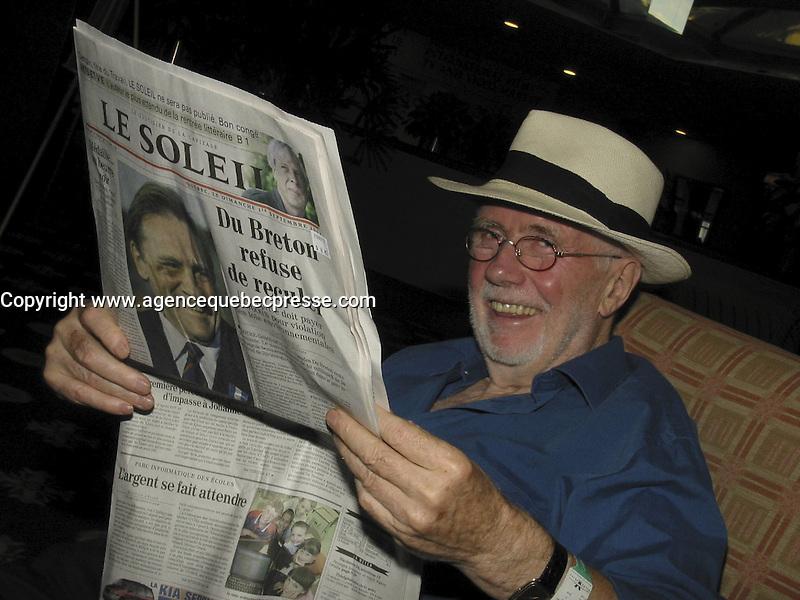 Sept 2002  File Photo of Quebec film maker Arthur Lamothe.<br /> Photo by Pierre Roussel