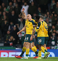 2nd November 2019; Hampden Park, Glasgow, Scotland; Scottish League Cup Football, Hibernian versus Celtic; Scott Brown of Celtic waves up to the crowd after he scores in the 90th minute to make it 5-2 to Celtic - Editorial Use