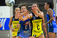 Tayla Earle markes Claire Kersten during the ANZ Premiership netball match between the Central Pulse and Northern Mystics at Te Rauparaha Arena in Wellington, New Zealand on Wednesday, 17 April 2019. Photo: Dave Lintott / lintottphoto.co.nz
