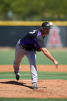 Colorado Rockies pitcher Zach Jemiola (77) during an Instructional League game against the Los Angeles Angels of Anaheim on October 6, 2016 at the Tempe Diablo Stadium Complex in Tempe, Arizona.  (Mike Janes/Four Seam Images)