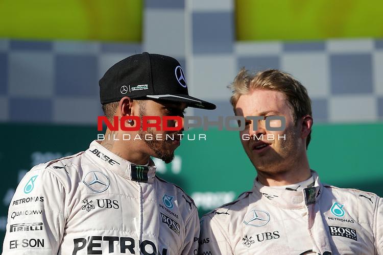 20.03.2016. Albert-Park-Circuit, Melbourne,  AUS, F1, Formula 1 Rolex Australien Grand Prix,  Race01 im Bild   <br /> Podium:<br /> 2.Platz f&uuml;r Lewis Hamilton (GB#44), Mercedes AMG Petronas Formula One Team, Sieger des Rennens Nico Rosberg (GER#6), Mercedes AMG Petronas Formula One Team<br /> <br /> <br /> Foto &copy; nordphoto /  Bratic