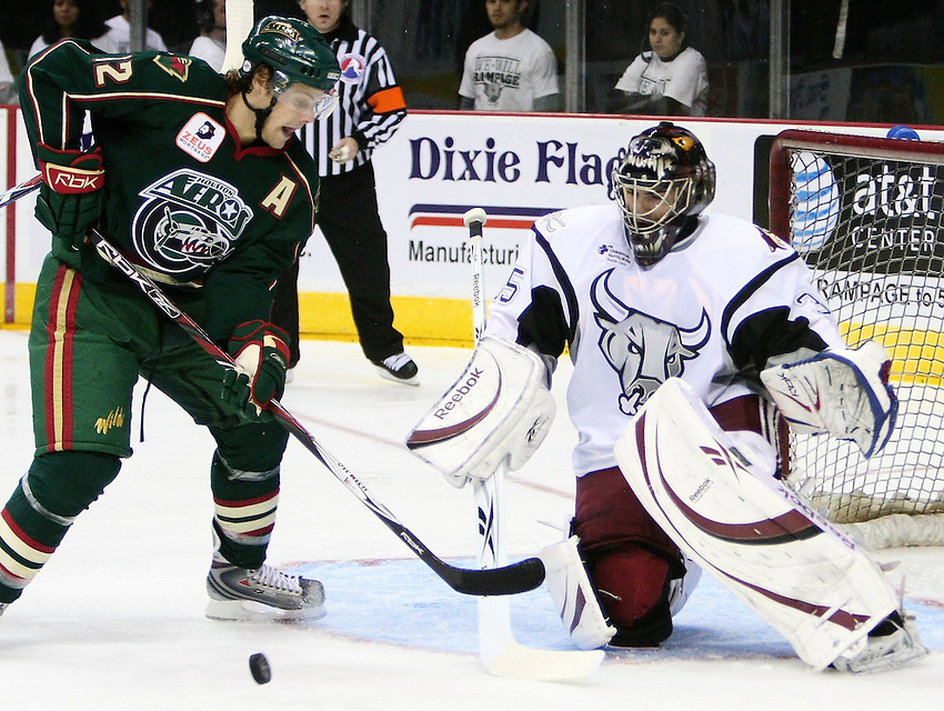 Houston's Ryan Hamilton shoots on San Antonio goalie Al Montoya during the AHL game between the Houston Aeros and the San Antonio Rampage, Oct. 19, 2008, at the AT&T Center in San Antonio. (Darren Abate/pressphotointl.om)