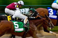 LOUISVILLE, KY - MAY 05: December Seven #5, ridden by Corey Lanerie runs in the Alysheba Stakes on Kentucky Oaks Day at Churchill Downs on May 5, 2017 in Louisville, Kentucky. (Photo by Douglas DeFelice/Eclipse Sportswire/Getty Images)