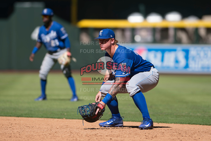 Kansas City Royals first baseman Chris DeVito (34) during an Instructional League game against the Arizona Diamondbacks at Chase Field on October 14, 2017 in Scottsdale, Arizona. (Zachary Lucy/Four Seam Images)