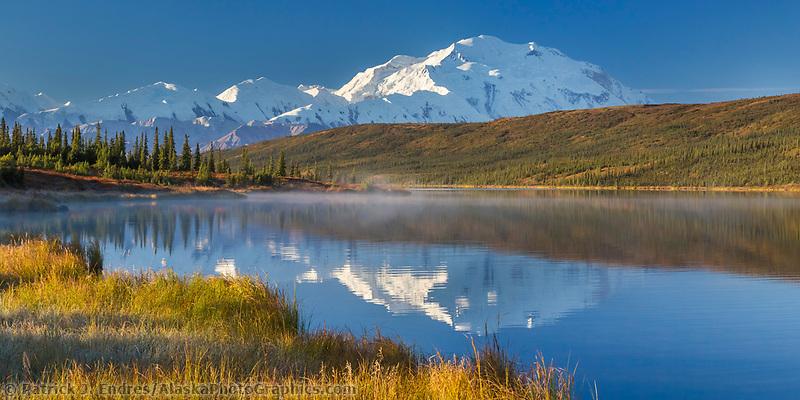 Mt. Denali reflects in Wonder Lake, Denali National Park, Interior, Alaska
