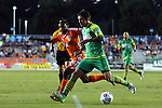 14 September 2013: Tampa Bay's Georgi Hristov (BUL) (in green) and Carolina's Nick Millington (GUY) (14). The Carolina RailHawks played the Tampa Bay Rowdies at WakeMed Stadium in Cary, North Carolina in a North American Soccer League Fall 2013 Season regular season game. The game ended in a 2-2 tie.
