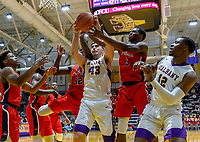 Stony Brook defeats UAlbany  69-60 in the America East Conference tournament quaterfinals at the  SEFCU Arena, Mar. 3, 2018. Greg Stire (#43) battles for a rebound.