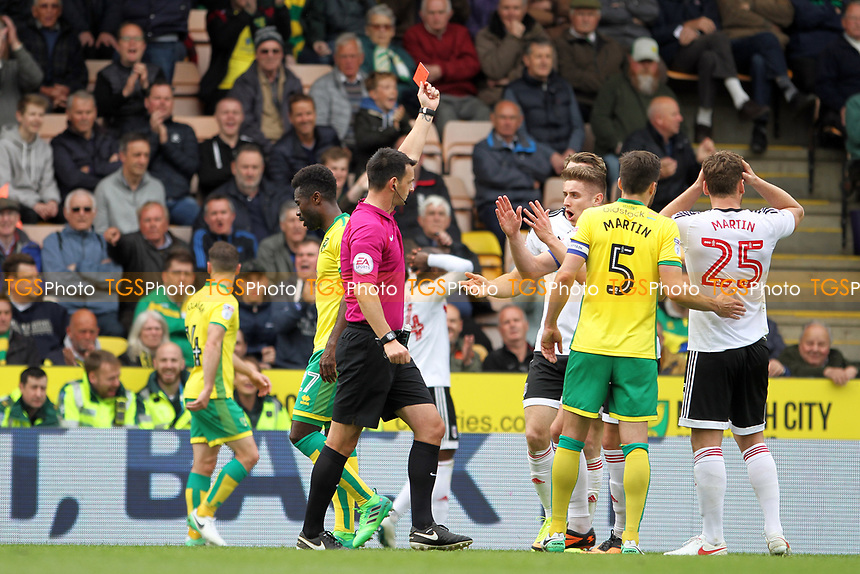 Chris Martin of Fulham holds his head as he is shown a straight red card by Referee Andrew Madley during Norwich City vs Fulham, Sky Bet EFL Championship Football at Carrow Road on 14th April 2017