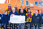 Cahersiveen Festival of Music & the Arts presented a cheque for €1,000 to Valentia Lifeboat their chosen charity for 2017, pictured here front l-r; Michelle Curran, Timothy Lyne(Treasurer Valentia Lifeboat), Hugh Horgan(Chairman CFMA), Richard Quigley, Christy McDonnell, back l-r; Sean Curtin, Liam Grandfield, Ann Landers, Breda O'Shea & Liam O'Shea.