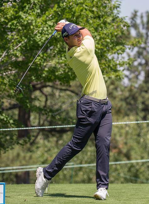 Andrea Pavan swings during the Barracuda Championship PGA golf tournament at Montrêux Golf and Country Club in Reno, Nevada on Saturday, July 27, 2019.