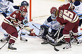 Dominque Goutsis (Maine - 16), Alex Carpenter (BC - 5), Brittany Ott (Maine - 29), Emily Field (BC - 15), Melissa Gagnon (Maine - 12) - The visiting University of Maine Black Bears defeated the Boston College Eagles 5-2 on Sunday, October 30, 2011, at Kelley Rink in Conte Forum in Chestnut Hill, Massachusetts.