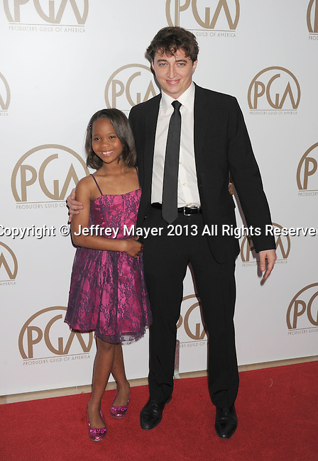 BEVERLY HILLS, CA - JANUARY 26: Quvenzhane Wallis and Benh Zeitlin arrive at the 24th Annual Producers Guild Awards at The Beverly Hilton Hotel on January 26, 2013 in Beverly Hills, California.