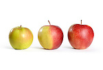 Three apples. Green, half red and red. Isolated on white background